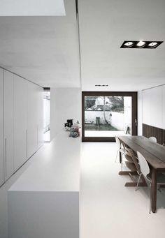 #architecture #design #interiors #dining spaces #kitchen #style #white #modern #contemporary #minimalism #windows - House W-DR by GRAUX & BAEYENS architecten