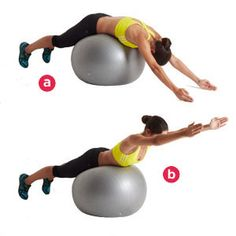 The Superman: Lie across a stability ball, feet hip-width apart and resting against a wall or other sturdy object. Your arms should be extended past your head, with your palms facing each other. Squeeze your glutes and lift your chest off the ball to straighten your back while reaching your arms overhead. Pause, then slowly reverse the motion to return to start.