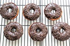 baked banana bread donuts with dark chocolate glaze