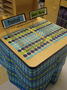 Great classroom organization. Some students may not finish their work so having an area for them to place it and come back to finish it later is a very good idea so they can have a full opportunity to get credit for their work....Blue green theme
