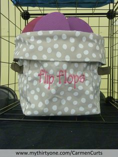 """Can a girl really have too many flip flops? This new """"Mini Utility Bin"""" in Lotsa Dots can hold six pairs of flip flops! http://www.mythirtyone.com/CarmenCurts/"""