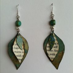 Hand made paper bead earrings