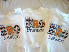 Sibling Trio, Sibling applique shirts and onesie, Big Sister Little Sister Big Brother Shirts, girls monogram shirt, boys monogram shirt