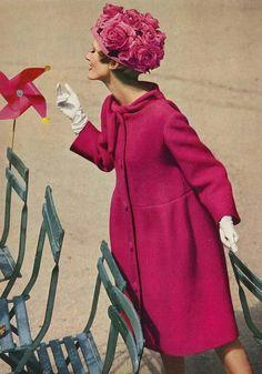 Lady in pink fashion, vintage pink, summer cloth, october, vogue magazine, handmade flowers, coat, hat, william klein