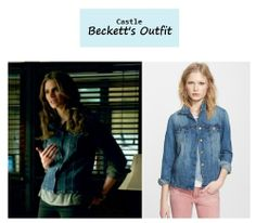 "On the blog: Kate Beckett's (Stana Katic) denim jacket | Castle - ""Veritas"" (Ep. 622) #tvstyle #tvfashion #outfits #fashion"