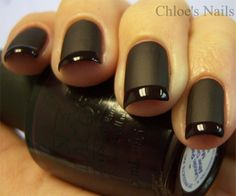 matte nails, nail polish, french manicures, color, flat, nail arts, black nails, french tips, matte black
