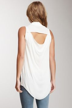 Cutout Back Silk Top