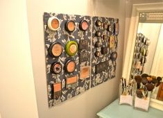 Magnetic Make-up board. i want in my bathroom!!!