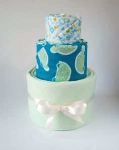 Handmade Receiving Blankets Set of Three - Baby Shower Gift Blanket Cake - Green and Blue for Baby Boy - Ready to Ship