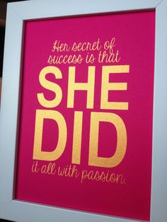 Gold Inspirational quote print Her secret of success by MiraDoson, $12.00