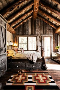 Wow. bedroom, cabin/rustic, architecture, rugged cabin design, just gorgeous. who would leave?