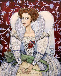Elizabeth, the Virgin Queen, Queen of hearts by LisaPerrinArt, via Flickr