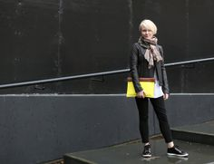 Elle Editor In Chief Lorraine Candy wearing the Jimmy Choo MIAMI trainers at London Fashion Week