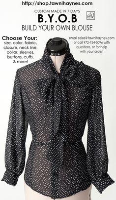 Sheer Chiffon Black w/White Polka Dot Bow Blouse w/3 Qtr Gradual Puff Sleeve! BYOB @ http://shop.tawnihaynes.com/ProductDetails.asp?ProductCode=bb-chffm-plkdt-blk-wht