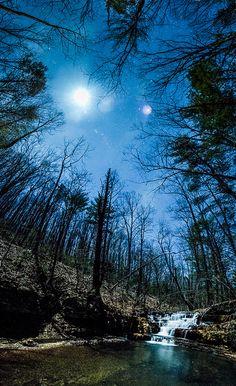 Moon over Fenwick Mines Waterfall, New Castle, Virginia