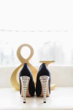 Shoes by Miu Miu || See the wedding on Style Me Pretty: http://www.StyleMePretty.com/2014/02/18/great-gatsby-inspired-wedding-at-the-london-west-hollywood/  Photography: Erin Hearts Court