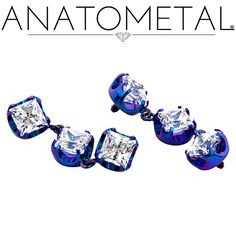 Threaded Princess Ends with Dangles in ASTM F-136 titanium, anodized teal: CZ gemstones