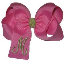 Custom Monogrammed Medium Size Hair Bow by My Bowdacious Designs