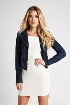 Carrie Denim Moto Jacket in Backdrop Wash | GUESS.com