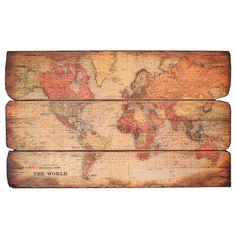 """World Map Art Wood 28.6""""H x 47""""W x 1.2""""D ($117.00)  $71.00 Joss and Main"""