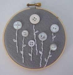 hand embroidery, white flowers, button flowers, embroidery hoop art, buttons, sewing rooms, embroidery hoops, embroidery designs, craft rooms