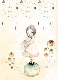 Childrens Wall Art Print -Sofi and the Owl, Print 8x11