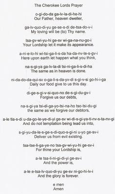 The Cherokee Lord's Prayer.