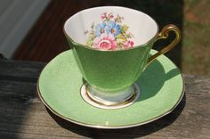 Vintage Roslyn Fine Bone China Tea Cup and Saucer Green / Floral / Gold trim England