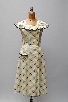 vintage 1940s dress cotton windowpane print by thegreedyseagull, $98.00