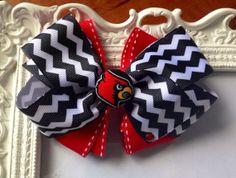 University of Louisville Hair bow by LittleBlueNook on Etsy, $5.00