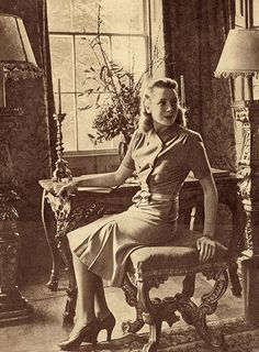 1940s dresses for women | 1940s Fashion – Deborah Kerr models the 1942 British Utility Dress ...
