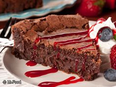 Sometimes you want something rich and fudgy and our Flourless Chocolate Torte is just what you've been looking for. One bite, and you'll be in dessert heaven!   Read more at http://www.mrfood.com/Cakes/Flourless-Chocolate-Torte-4915#qI3IKvGRuCleAypy.99
