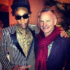 Wiz Khalifa And Sting Posing Backstage At The Grammys