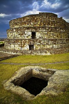 Northwest of Toluca, Mexico is the uniquely shaped temple of the Aztecs - Calixtlahuaca