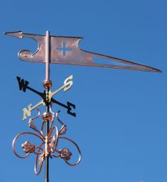 Club and Cross Banner Weathervane by West Coast Weathervanes.