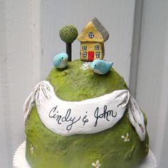 Cute! A great housewarming cake! sweet, cake wedding, wedding ideas, housewarm cake, wedding cakes, romantic weddings, wedding cake recipes, cake toppers