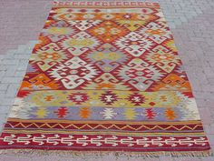 "VINTAGE Turkish Kilim Rug Carpet, Handwoven Kilim Rug,Antique Kilim Rug,Decorative Kilim, Natural Wool  61,8"" X 106,2"""