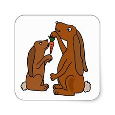 Mother and Baby Brown Rabbit Cartoon Sticker #rabbits #bunnies #stickers #animals #cute #gifts #zazzle #petspower