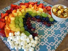 Fruit Rainbow with Marshmallow Clouds and Rolo Pot of Gold