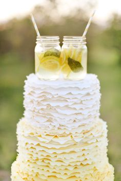 Cake--Sweet Starlet loved this lemon wedding cake, it was perfect for her country theme and she served it with old fashioned lemonaide.