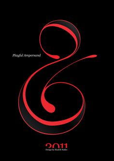 #Playful #Ampersand. #Moshik Nadav #Typography.        #ampersands #experimental #typography #typo #font #fonts #type #fashion #sleek #deep #hues #graphic #art #red #black