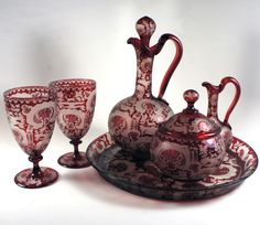 Antique Bohemian Ruby Glass Engraved Hunt Theme Absinthe Service Set - 6 pc with Tray, Decanter, 2 Goblets