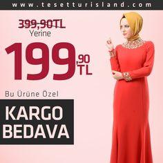 BUGÜNE ÖZEL İNDİRİM! Mahber - Boncuk Detaylı Kuyruklu Elbise 399 TL yerine tam 199 TL! #big #sale #red #dress #tesetturisland #hijab  Bu fırsatı kaçırma! www.tesetturisland.com Ürün Kodu:  3680K