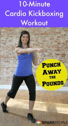 Kick away calories--and have fun doing it--with this short and sweet cardio kickboxing workout! | via @SparkPeople #fitness #exercise #video