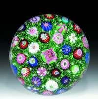 Clichy paperweight with a central cabbage rose cane glass paperweight, glasspaperweight, millefiori paperweight, clichi paperweight