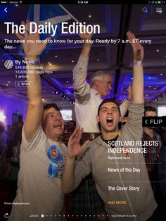 Scotland rejects independence, Alibaba IPO shares priced and what's new at the movies. Check out today's edition: flip.it/dailyedition