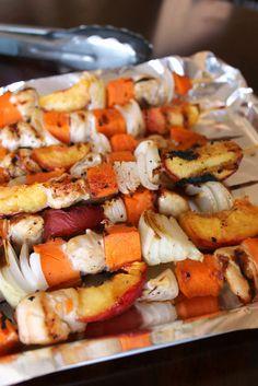 honey-glazed chicken, peach, & sweet potato skewers.