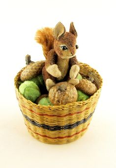 "❤ . . . OOAK 2013 Janie Comito~ Timmy~ Miniature Squirrel & Acorns in Vintage Basket- The baby squirrels have been running up & down the tree in Janie's back yard. Out of the nest & having fun.Timmy, a hand crafted representative of the species has found a basket of acorns. Timmy is inspired by the annual arrival of juvenile squirrels. Janie's fully jointed miniature squirrel is hand sewn from upholstery velvet. He is 2"" tall & is wire & armatured in the arms & legs & jointed head arms & legs."