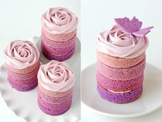 purple ombre pink cakes