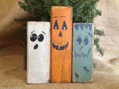 Primitive Country Pumpkin Ghost Monster Halloween Wood Shelf Sitter Block Set #PrimitiveMonsters